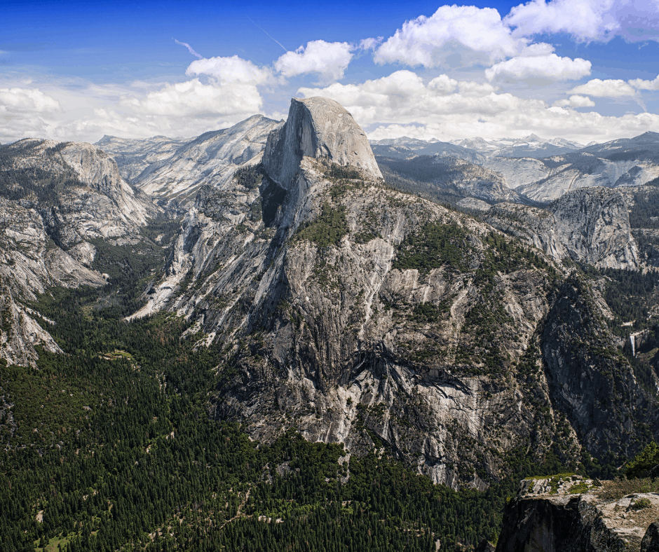 View of Half Dome and the High Sierras from Glacier Point